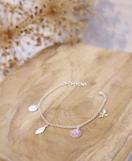 bracelet argenté esmée fleurs séchées gypsophile rose